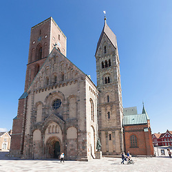Ribe Cathedral or Our Lady Maria Cathedral (Danish: Ribe Domkirke or Vor Frue Maria Domkirke) is located in the ancient city of Ribe, on the west coast of southern Jutland, Denmark. <br /> As it stands today, Ribe Cathedral is the best preserved Romanesque building in Denmark, but reflects a plethora of different architectural styles and artistic traditions. It ranks amongst the biggest tourist attractions in Denmark and has been awarded two stars in the Michelin guide.