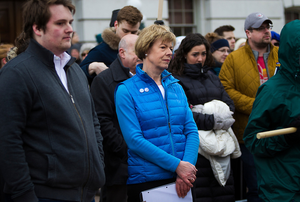 Sen. Tammy Baldwin (D-WI) looks on during the March for our Lives protest in Madison, Wisconsin, Saturday, March 24, 2018.