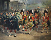 1st Battalion Marches down the Mound, 1932, oil painting on canvas by Frank Watson Wood, 1862-1953, depicting soldiers marching in Edinburgh playing drums and bagpipes, in the collection at Stirling Castle, with current buildings dating to 15th and 16th centuries, on Castle Hill, in Stirling, Scotland. The castle is listed as a scheduled ancient monument and is run by Historic Environment Scotland. Picture by Manuel Cohen