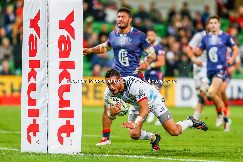 Bryn Hall during Rebels v Crusaders, 2018 Super Rugby season, AAMI Park, Melbourne, Australia. 4 May 2018. Copyright Image: Brendon Ratnayake / www.photosport.nz