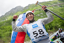 Second placed in C1 men Blaz Cof of Slovenia celebrates at final sprint race of European wildwater Canoeing Championships Soca 2013 on May 12, 2013 in Trnovo ob Soci, Soca river, Slovenia. (Photo By Vid Ponikvar / Sportida)
