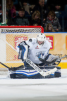 KELOWNA, CANADA - DECEMBER 3: Nik Amundrud #35 of Saskatoon Blades makes a save against the Kelowna Rockets on December 3, 2014 at Prospera Place in Kelowna, British Columbia, Canada.  (Photo by Marissa Baecker/Shoot the Breeze)  *** Local Caption *** Nik Amundrud;