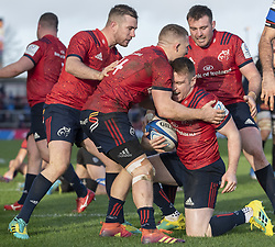 December 9, 2018 - Limerick, Ireland - Rory Scannell of Munster celebrates scoring with teammates during the Heineken Champions Cup Round 3 match between Munster Rugby and Castres Qlympique at Thomond Park Stadium in Limerick, Ireland on December 9, 2018  (Credit Image: © Andrew Surma/NurPhoto via ZUMA Press)