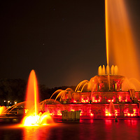 Buckingham Fountain Chicago  at night. Buckingham Fountain is a Chicago Landmark and a popular tourist attraction.
