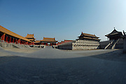 Gugong (Forbidden City, Imperial Palace). Baohe Dian (Hall of Preserving Harmony, 2nd from r.) and Zhonghe Dian (Hall of the Middle Harmony, r.)