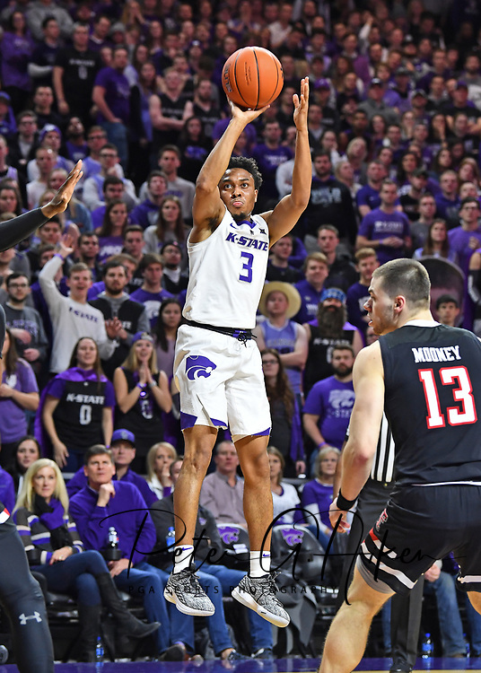 MANHATTAN, KS - JANUARY 22:  Kamau Stokes #3 of the Kansas State Wildcats puts up a shot against the Texas Tech Red Raiders during the second half on January 22, 2019 at Bramlage Coliseum in Manhattan, Kansas.  (Photo by Peter G. Aiken/Getty Images) *** Local Caption ***  Kamau Stokes