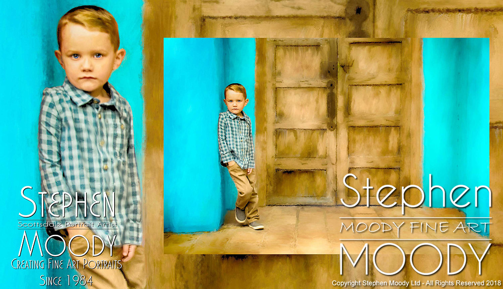 Fine Art Portraits of Children by Scottsdale Portrait Artist Stephen Moody - Commissioned Mixed Media Portraiture of children