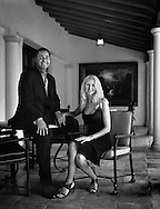 Portrait of real estate developer R. Don Peebles and wife Katrina Peebles at their home in Coral Gables, Florida.