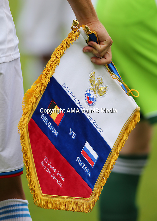 The pennant given to Belgium by the Russia team