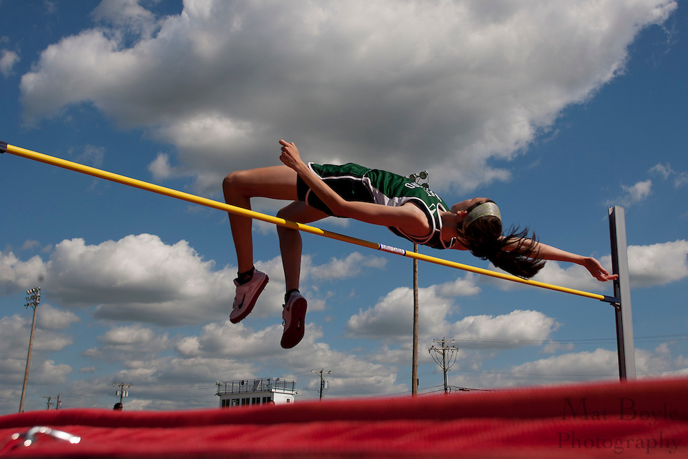 Megan Kirschling wons the country championship in the high jump with a height of 5'6.