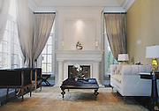 Interior of elegant, upscale living room.