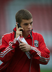 EXETER, ENGLAND - Wednesday, August 24, 2011: Liverpool's John Flanagan before the Football League Cup 2nd Round match against Exeter City at St James Park. (Pic by David Rawcliffe/Propaganda)