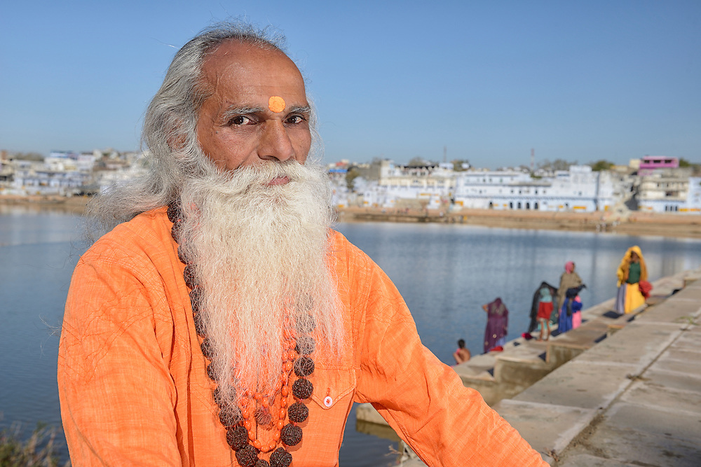 Guru at Holy Lake,City of Puskar,Rajasthan,India,Asia<br /> Model release 0320