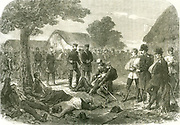 Battle of Sadowa (Sadova, Koniggratz), Bohemia, 3 July 1866, the decisive battle in the Austro-Prussian War.  Austria defeated by Prussia. Frederick, Crown Prince of Prussia, visiting wounded survivors of the battle.  From 'The Illustrated London News' 1866.