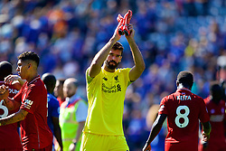 LEICESTER, ENGLAND - Saturday, September 1, 2018: Liverpool's goalkeeper Alisson Becker celebrates a 2-1 victory after the FA Premier League match between Leicester City and Liverpool at the King Power Stadium. (Pic by David Rawcliffe/Propaganda)