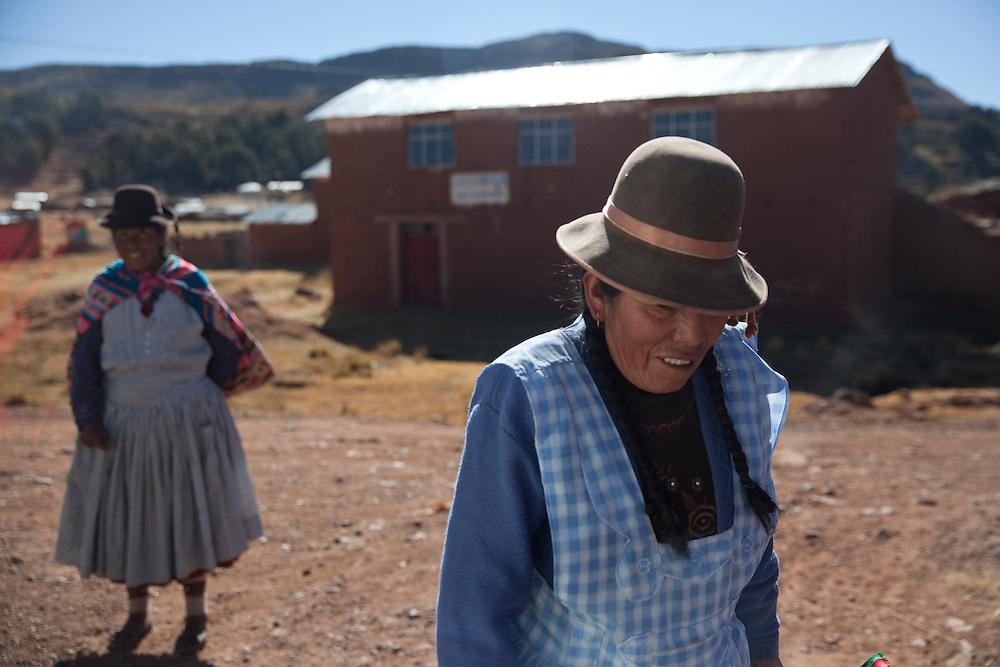 Women traditionally dressed in Juliana, near Titicaca Lake, Peru.