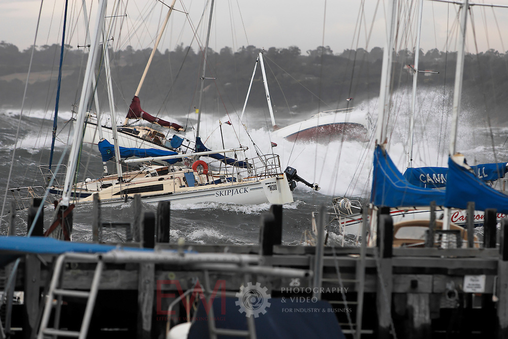 Storm damage to yachts at Mornington Yacht Club. <br />