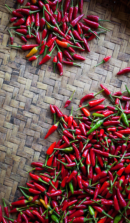 Small red hot chillies at a food market in Kota Kinabalu, Sabah, Malaysia