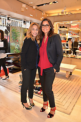 Left to right, JEANNE MARINE and ISABELLE CLAVIER at a breakfast at Roger Vivier, 188 Sloane Street to view the SS2014 Roger Vivier collections held on 20th March 2014.