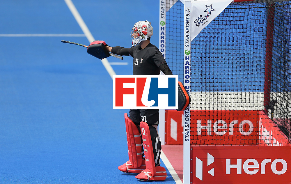 LONDON, ENGLAND - JUNE 25: Antoni Kindler of Canada looks on during the 5th/6th place match between India and Canada on day nine of the Hero Hockey World League Semi-Final at Lee Valley Hockey and Tennis Centre on June 25, 2017 in London, England. (Photo by Steve Bardens/Getty Images)