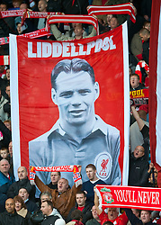 "24.10.2010, Anfield Road, Liverpool, ENG, PL, Liverpool FC vs Blackburn Rovers FC, im Bild Liverpool's supporters on the Spion Kop display a banner reading ""Liddellpool"" in tribute to Billy Liddell, regarded by many as the club's greatest ever player, EXPA Pictures © 2010, PhotoCredit: EXPA/ Propaganda/ D. Rawcliffe *** ATTENTION *** UK OUT!"