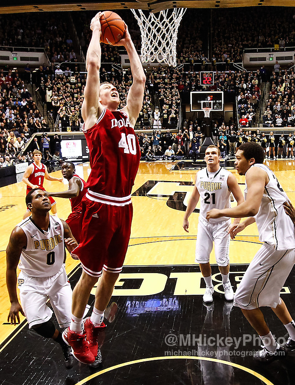 WEST LAFAYETTE, IN - JANUARY 30: Cody Zeller #40 of the Indiana Hoosiers goes up for a dunk against the Purdue Boilermakers at Mackey Arena on January 30, 2013 in West Lafayette, Indiana. Indiana defeated Purdue 97-60. (Photo by Michael Hickey/Getty Images) *** Local Caption *** Cody Zeller