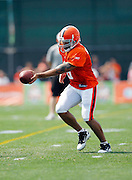 Cleveland Browns quarterback Seneca Wallace (6) hands off the ball on a running play during NFL football training camp at the Cleveland Browns Training Complex on Monday, August 9, 2010 in Berea, Ohio. (©Paul Anthony Spinelli)