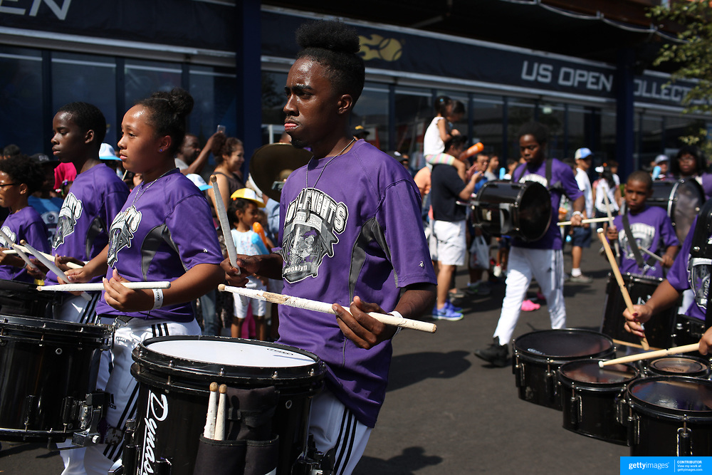 2017 U.S. Open - AUGUST 26.  Music and dancing entertainment for fans during Arthur Ashe kids day at the US Open Tennis Tournament at the USTA Billie Jean King National Tennis Center on August 26, 2017 in Flushing, Queens, New York City.  (Photo by Tim Clayton/Corbis via Getty Images)