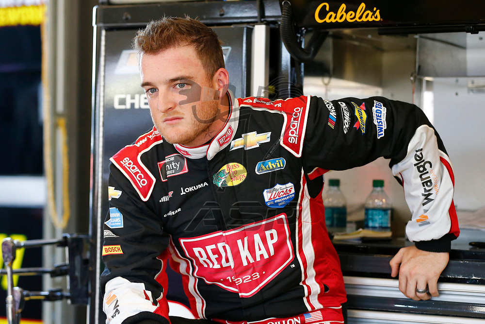 Ty Dillon (3) hangs out in the garage during practice for the Alsco 300 at Kentucky Speedway in Sparta, Kentucky.