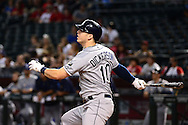 PHOENIX, AZ - JUNE 08:  Corey Dickerson #10 of the Tampa Bay Rays hits a solo home run against the Arizona Diamondbacks during the first inning at Chase Field on June 8, 2016 in Phoenix, Arizona. The Tampa Bay Rays won 8-6.  (Photo by Jennifer Stewart/Getty Images)