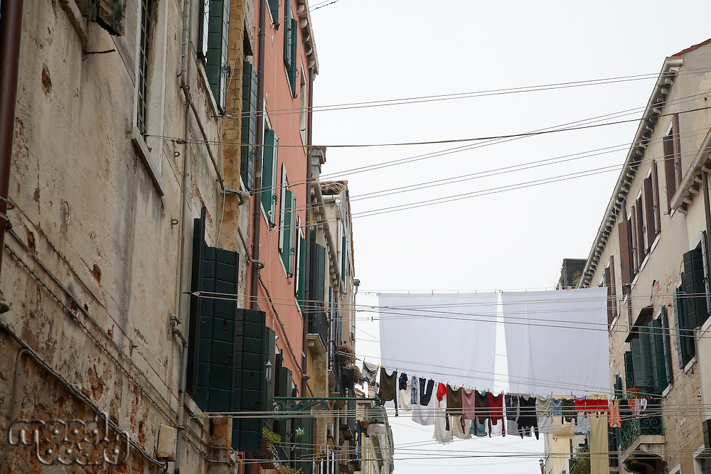 Italy Venice laundry between two buildings