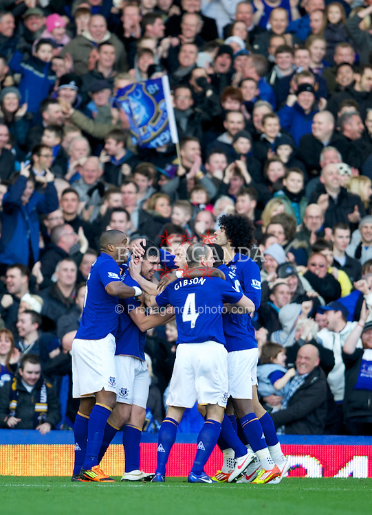LIVERPOOL, ENGLAND - Saturday, February 18, 2012: Everton's Denis Stracqualursi celebrates scoring the second goal against Blackpool during the FA Cup 5th Round match at Goodison Park. (Pic by David Rawcliffe/Propaganda)