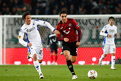 20.10.2011, AWD-Arena, Hannover, GER, UEFA EL,Gruppe B, Hannover 96 (GER) vs FC Kopenhagen (DEN), im Bild Mohamed Abdellaoue (Hannover #25) und Thomas Delaney (Kopenhagen #27).// during UEFA Europa League group B match between Hannover 96 (GER) and FC Kopenhagen (DEN) at AWD-Arena Stadium, Hannover, Germany on 20/10/2011.  EXPA Pictures © 2011, PhotoCredit: EXPA/ nph/  Schrader       ****** out of GER / CRO  / BEL ******