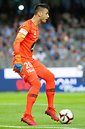 Western Sydney Wanderers goalkeeper Vedran Janjetovic (20) controls the ball at the Hyundai A-League Round 6 soccer match between Melbourne Victory and Western Sydney Wanderers at Marvel Stadium in Melbourne.