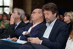 Foto LaPresse/Filippo Rubin<br /> 17/11/2019 Bologna (Italia)<br /> Cronaca Politica<br /> Assemblea Pd a Bologna - Eataly Fico Bologna<br /> Nella foto: Paolo Gentiloni Nicola Zingaretti e Dario Franceschini<br /> <br /> Photo LaPresse/Filippo Rubin<br /> November 17th, 2019 Bologna (Italy)<br /> Politics<br /> PD meeting - Fico Eataly World Bologna <br /> In the pic: Paolo Gentiloni Nicola Zingaretti and Dario Franceschini