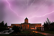Lightning spreads across the sky above the Manitoba Legislative Building, Saturday, July 4, 2015.