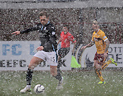 Dundee's Greg Stewart races through the Dens Park blizzard -  Dundee v Motherwell, SPFL Premiership at Dens Park <br /> <br /> <br />  - &copy; David Young - www.davidyoungphoto.co.uk - email: davidyoungphoto@gmail.com
