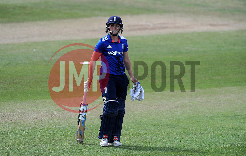 Dejection for England's Heather Knight after being dismissed. - Photo mandatory by-line: Harry Trump/JMP - Mobile: 07966 386802 - 21/07/15 - SPORT - CRICKET - Women's Ashes - Royal London ODI - England Women v Australia Women - The County Ground, Taunton, England.