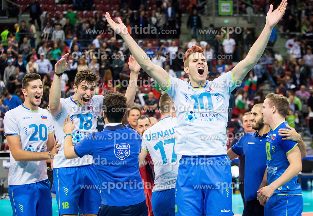 Jan Kozamernik #10 of Slovenia celebrate after winning during volleyball match between National teams of Slovenia and Italy in 1st Semifinal of 2015 CEV Volleyball European Championship - Men, on October 17, 2015 in Arena Armeec, Sofia, Bulgaria. Photo by Vid Ponikvar / Sportida