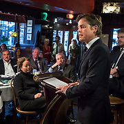 WASHINGTON, DC - MAR7: Caspar Phillipson, the Danish actor who played JFK in the recent movie Jackie, reenacts some of President Kennedy's most famous speeches, while Danish historian, author, and friend Anders Agner Pedersen  (right) looks on, at Martin's Tavern in Georgetown, March 7, 2017. (Photo by Evelyn Hockstein/For The Washington Post)