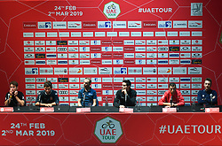 February 23, 2019 - Abu Dhabi, United Arab Emirates - (Left-Right) Mark Cavendish of Great Britain and Team Dimension Data, Fernando Gaviria of Colombia and UAE Team Emirates, Alejandro Valverde of Spain and Movistar Team, Tom Dumoulin of Netherlands and Team Sunweb, Vincenzo Nibali of Italy and Team Bahrain-Merida, Elia Viviani of Italy and Team Deceuninck-QuickStep, during Top Riders press conference inside the Louvre Abu Dhabi Museum..On Saturday, February 23, 2019, Abu Dhabi, United Arab Emirates. (Credit Image: © Artur Widak/NurPhoto via ZUMA Press)