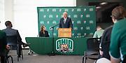 Ohio University President M. Duane Nellis introduces Julie Croner as the new Athletic Director.
