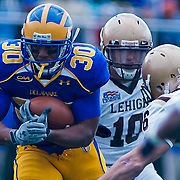 Delaware RB (#30) Andrew Pierce rush for 25 yards to the LEHIGH 16, 1ST DOWN DELAWARE. No. 5 Delaware defeats No.18 Lehigh 42-20 on a brisk Saturday afternoon at Delaware stadium in Newark Delaware...Delaware will face New Hampshire in the NCAA Quarterfinals.