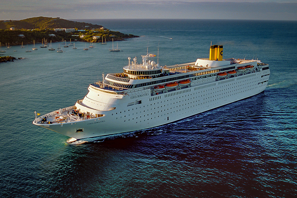 Aerial of Costa Romantica entering St. Thomas Harbor, U.S. Virgin Islands.