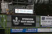 Match sponsor, Wheatley Printers during the Vanarama National League match between Forest Green Rovers and Torquay United at the New Lawn, Forest Green, United Kingdom on 1 January 2017. Photo by Shane Healey.