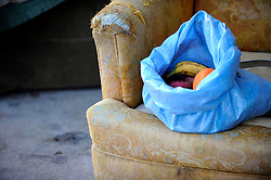 "A bag of fruit meant for ""Shorty,"" near the doorway she has occupied in front of the Victory Mission on Soledad Street. On Thursday, Salinas city workers, health officials and police conducted an early morning sweep of the Chinatown homeless population, removing all encampments on the street."