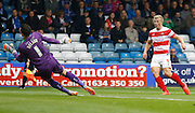 Stuart Nelson pulls out a great save from close range during the Sky Bet League 1 match between Gillingham and Doncaster Rovers at the MEMS Priestfield Stadium, Gillingham, England on 5 September 2015. Photo by Andy Walter.