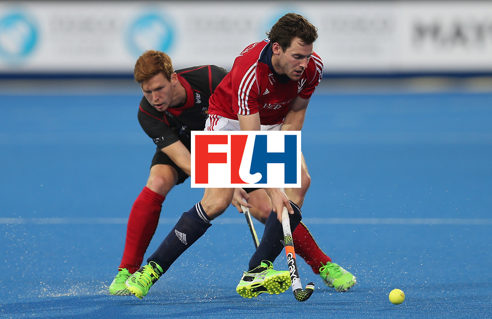 LONDON, ENGLAND - JUNE 16:  Alistair Brogdon of Great Britain and Gauthier Boccard of Belgium during the FIH Mens Hero Hockey Champions Trophy match between Great Britain and Belgium at Queen Elizabeth Olympic Park on June 16, 2016 in London, England.  (Photo by Alex Morton/Getty Images)