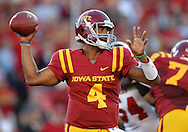 September 2 2010: Iowa State Cyclones quarterback Austen Arnaud (4) passes the ball during the first half of the NCAA football game between the Northern Illinois Huskies and the Iowa State Cyclones at Jack Trice Stadium in Ames, Iowa on Thursday September 2, 2010.