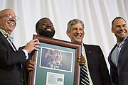 Kalvin McRae gets accepted into The Kermit Blosser Ohio Athletics Hall of Fame at the Alumni Awards Gala on October 6, 2017.